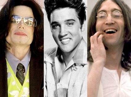 Michael Jackson, Elvis Presley, John Lennon