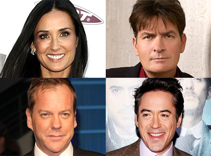 Charlie Sheen, Kiefer Sutherland, Robert Downey Jr., Demi Moore