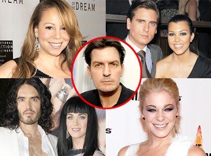 Mariah Carey, Kourtney Kardashian, Scott Disick, Katy Perry, Russell Brand, LeAnn Rimes, Charlie Sheen