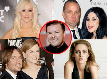 Christina Aguilera, Jesse James, Kat Von D, Nicole Kidman, Keith Urban, Kristen Stewart, Ricky Gervais