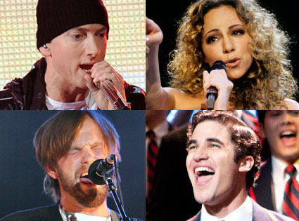 Eminem, Mariah Carey, Kings of Leon, Glee
