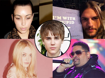 Ashton Kutcher, Kim Kardashian, Dakota Fanning, Heavy D, Justin Bieber