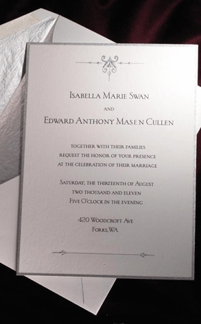 Breaking Dawn, Wedding Invitation