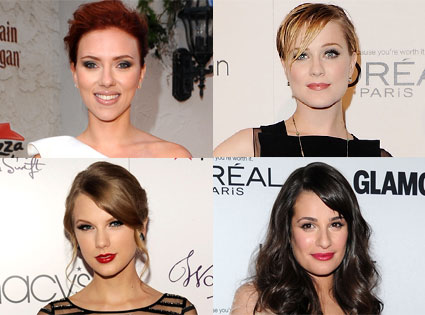 Taylor Swift, Lea Michele, Scarlett Johansson, Evan Rachel Wood