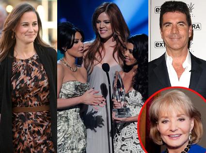 Pippa Middleton, Khloe Kardashian, Kim Kardashian, Kourtney Kardashian, Barbara Walters, Simon Cowell