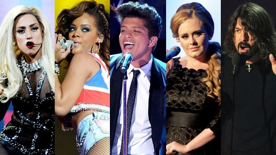 Adele, Rihanna, Lady Gaga, Bruno Mars, Dave Grohl of Foo Fighters