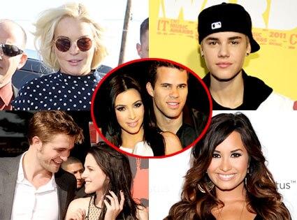 Lindsay Lohan, Justin Bieber, Robert Pattinson, Kristen Stewart, Demi Lovato, Kim Kardashian, Kris Humphries