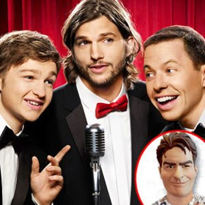 Two and a Half Men Cast, Charlie Sheen Halloween mask