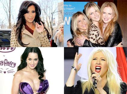 Kim Kardashian, Jennifer Aniston, Brooklyn Decker, Nicole Kidman, Katy Perry, Christina Aguilera