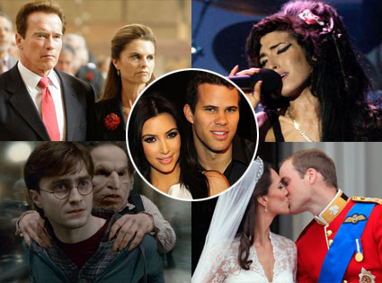 Kim Kardashian, Kris Humphries , Prince William, Kate, Amy Winehouse, Arnold Schwarzenegger, Maria Shriver, Daniel Radcliffe