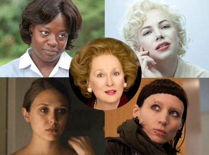 Meryl Streep, Iron Lady, Michelle Williams, My Week With Marilyn, Viola Davis, The Help, Rooney Mara, Girl with The Dragon Tattoo