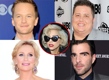 Chaz Bono, Lady Gaga, Neil Patrick Harris, Zachary Quinto, Jane Lynch