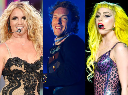 Britney Spears, Chris Martin, Lady Gaga, Coldplay