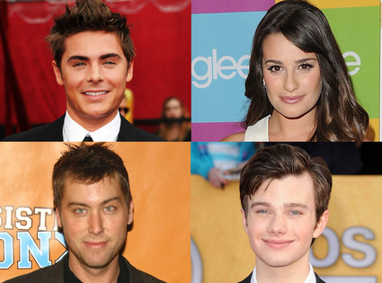 Chris Colfer, Lance Bass, Lea Michele, Zac Efron