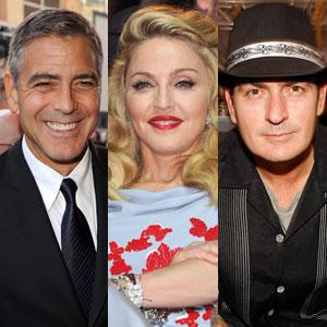 Charlie Sheen, George Clooney, Madonna
