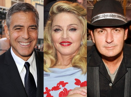 Charlie Sheen, George Clooney, Madonna