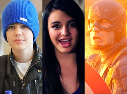 Justin Bieber, Rebecca Black, Captain America