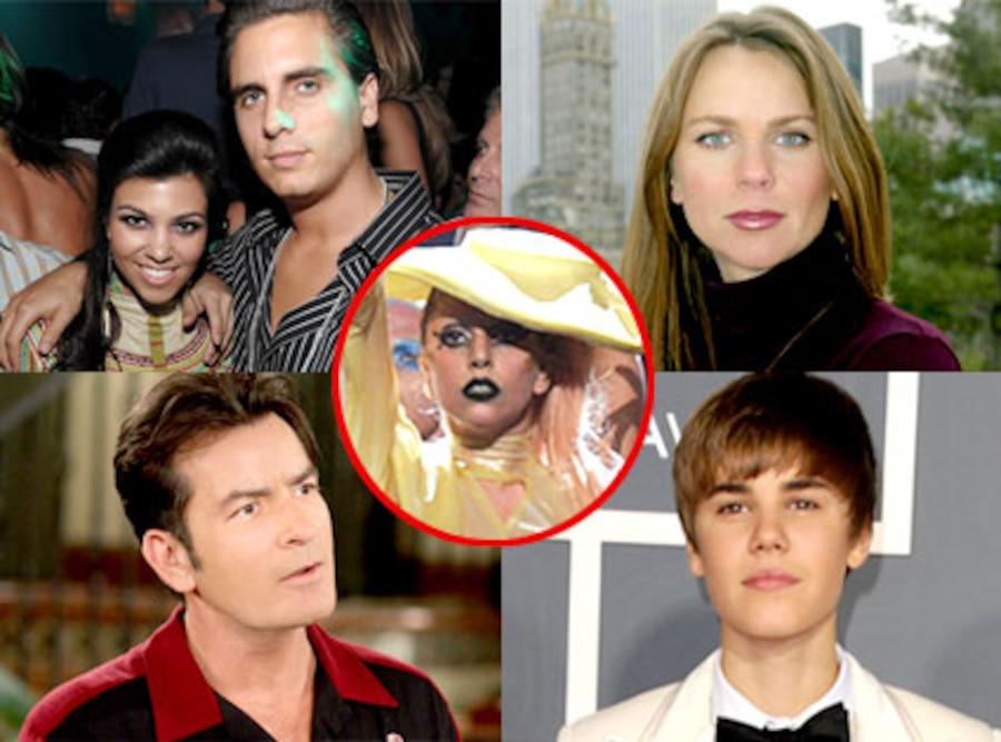 Kourtney Kardashian, Scott Disick, Lara Logan, Charlie Sheen, Justin Bieber, Lady Gaga