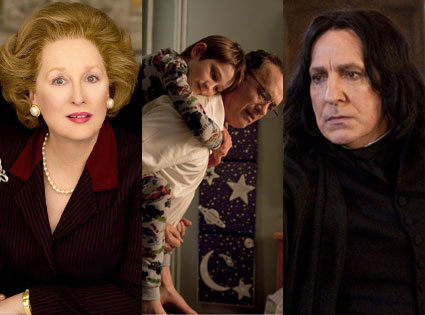 meryl streep, iron lady, extremely loud, incredibly close, alan rickman, harry potter and the deathly hallows part 2
