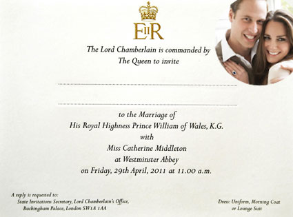 kate middleton prince william wedding invite