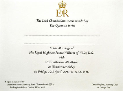 Kate Middleton, Prince William Wedding Invite