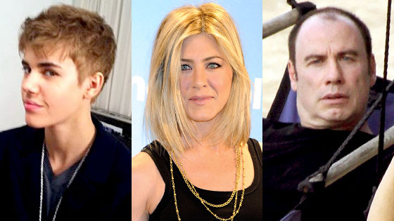 Justin Bieber, Jennifer Aniston, John Travolta