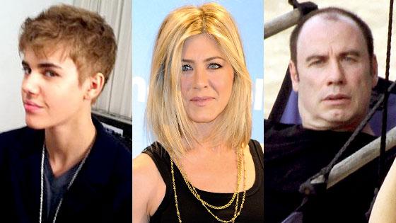 Justin Bieber, Jennifer Aniston, John Travolta