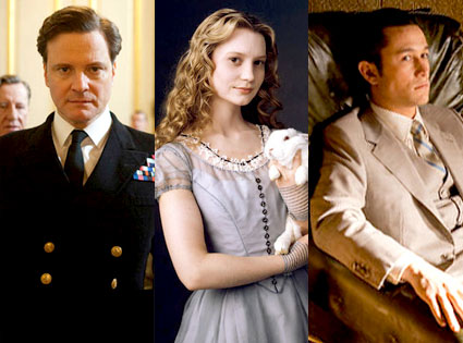 The Kings Speech, Colin Firth, Alice in Wonderland, Mia Wasikowska, Inception, Joseph Gordon-Levitt