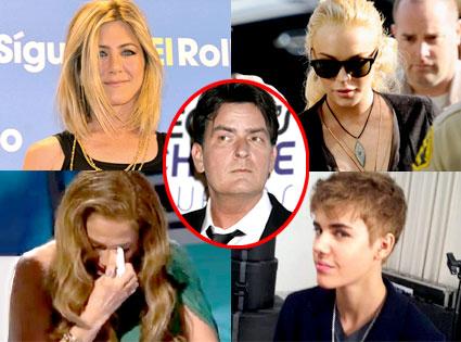 Jennifer Aniston, Lindsay Lohan, Jennifer Lopez, Justin Bieber, Charlie Sheen