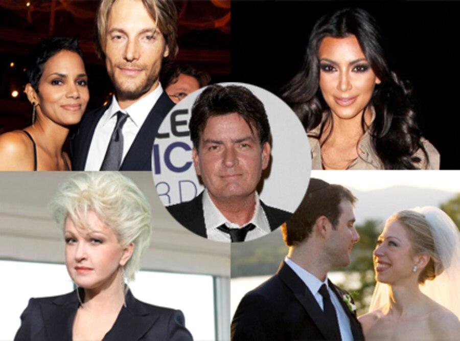 Halle Berry, Gabriel Aubry, Kim Kardashian, Cyndi Lauper, Chelsea Clinton, Charlie Sheen