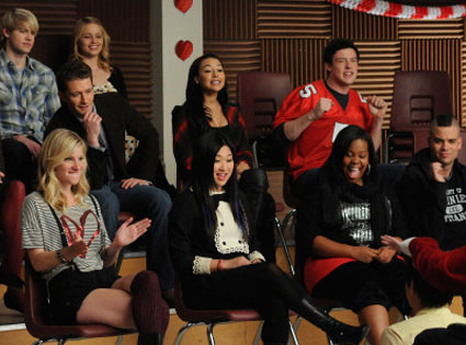 Chord Overstreet, Matthew Morrison, Dianna Agron, Naya Rivera and Cory Monteith, Glee