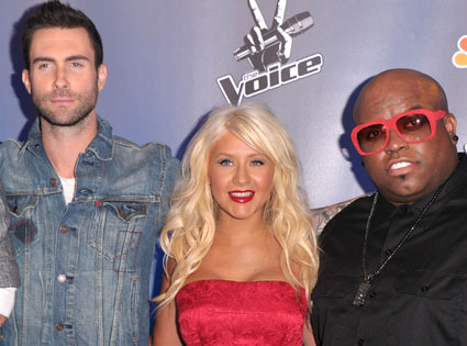 Adam Levine, Christina Aguilera, Cee Lo GReen