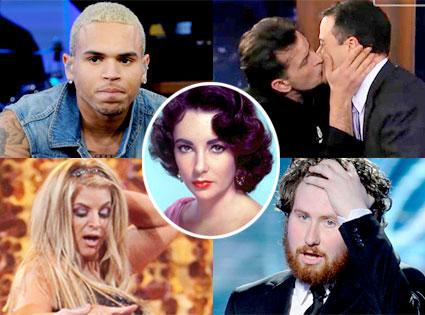 Chris Brown, Charlie Sheen, Jimmy Kimmel, Kirstie Alley, Casey Abrams, Elizabeth Taylor