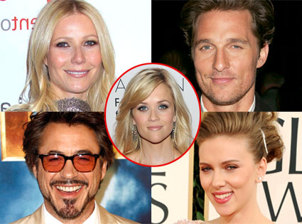 Gwyneth Paltrow, Scarlett Johansson, Matthew McConaughey, Robert Downey Jr.,f Reese Witherspoon