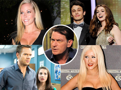 Kendra Wilkinson, James Franco, Anne Hathaway, Joel McHale, Alison Brie, Christina Aguilera, Charlie Sheen