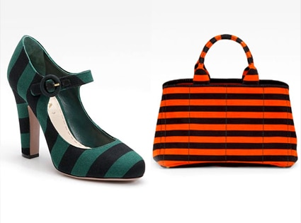 Prada, Striped Tote, Striped Mary Jane Pumps