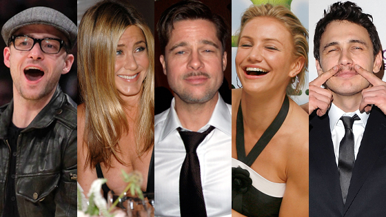 Justin Timberlake, Jennifer Aniston, Brad Pitt, Cameron Diaz, James Franco