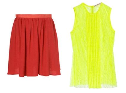 Raspberry Flippy Skirt, Christopher Kane Keke Neon Lace Top