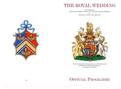 Prince William, Kate Middleton, Official Souvenir Wedding Programme