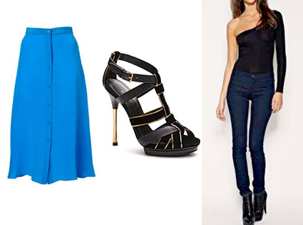 Blue Silk Button Down Midi Skirt, Gucci Malika Leather and Velvet Strappy Platform Sandals, ASOS One Sleeve Body