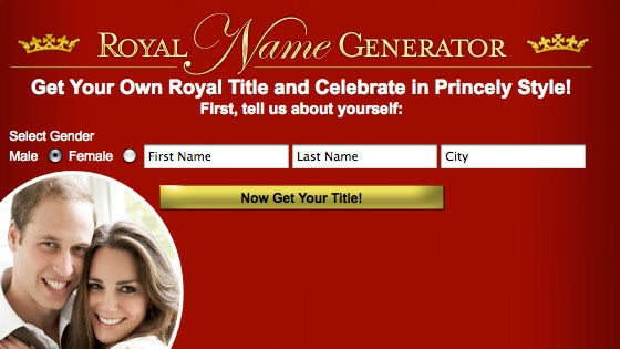 Royal Name Generator, Prince William, Kate Middleton