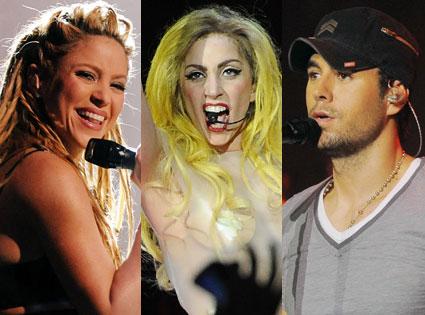 Lady Gaga, Enrique Iglesias, Shakira