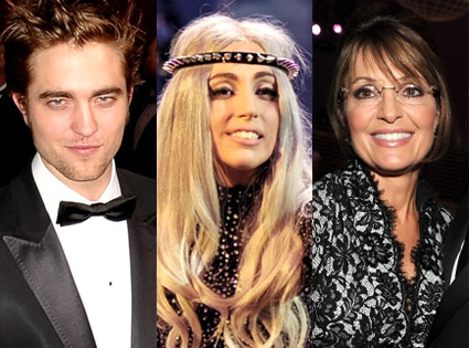 Robert Pattinson, Lady Gaga, Sarah Palin