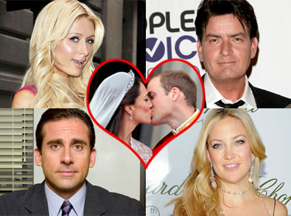 Paris Hilton, Charlie Sheen, Steve Carell, Kate Hudson, Kate Middleton, Prince William