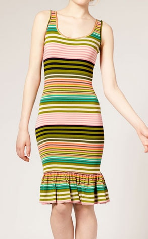 ASOS Varigated Stripe Frill Hem Dress
