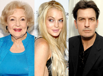 Betty White, Lindsay Lohan and Charlie Sheen
