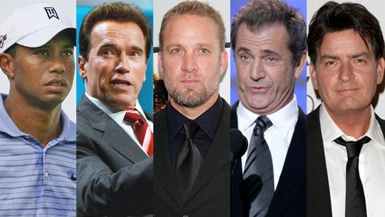 Arnold Schwarzenegger, Jesse James, Mel Gibson, Tiger Woods, Charlie Sheen