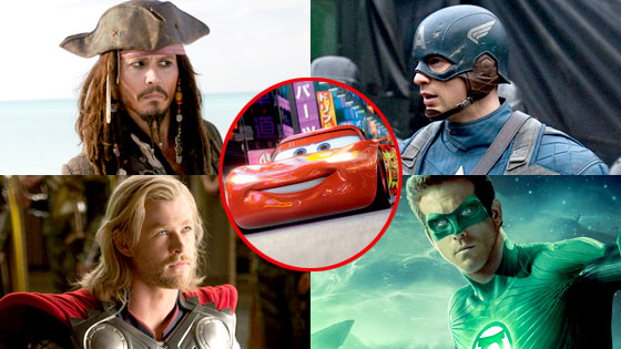Johnny Depp, Pirates of the Carribean, Chris Evans, Captain America, Cars 2, Lightning, Chris Hemsorth, Thor, Ryan Reynolds, Green Lantern