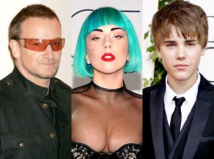 Bono, Lady Gaga, Justin Bieber