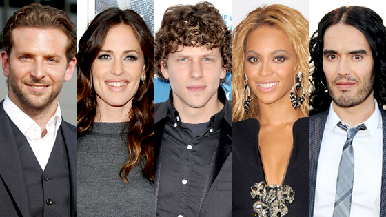 Bradley Cooper, Jennifer Garner, Jessie Eisenberg, Beyonce Knowles, Russell Brand